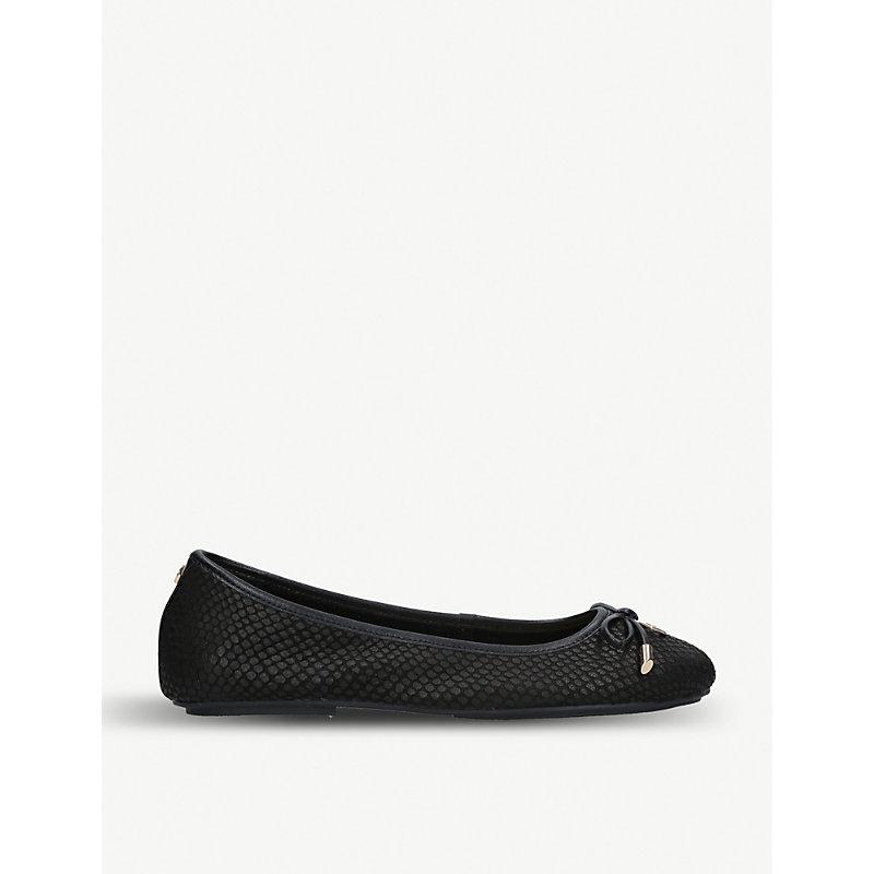 CARVELA | Magic Reptile-Embossed Leather Ballet Flats | Goxip