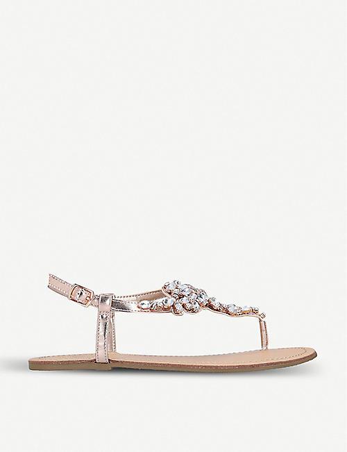 8f7e99b22b4f NINE WEST Shineforme jewel-embellished metallic sandals