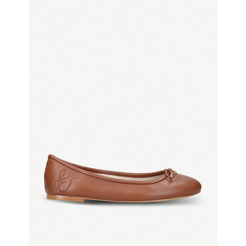 Felicia Classic Ballet Flats, Saddle in Tan