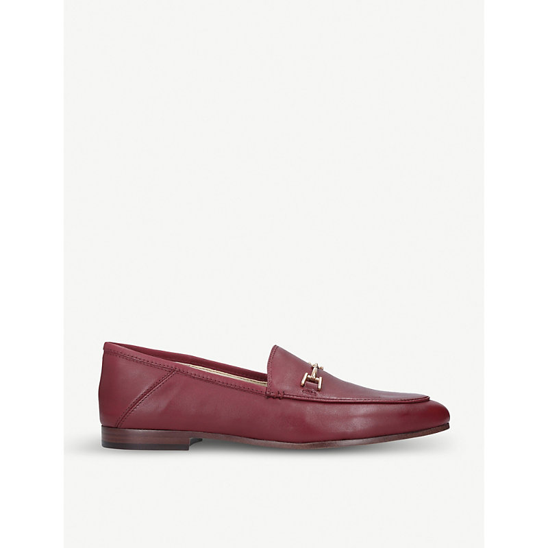 Loraine Burgundy Leather Loafers in Beet Red