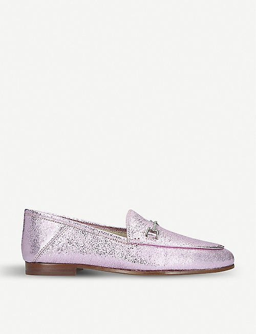 SAM EDELMAN: Loraine metallic leather loafers