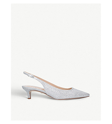 3f875d91a14 SAM EDELMAN Ludlow metallic-mesh slingback kitten heels (Silver