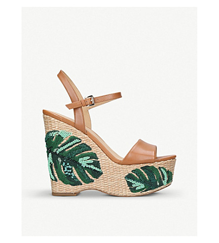 4d746cd7943 MICHAEL MICHAEL KORS Fisher leather and palm tree-embroidered wedge sandals