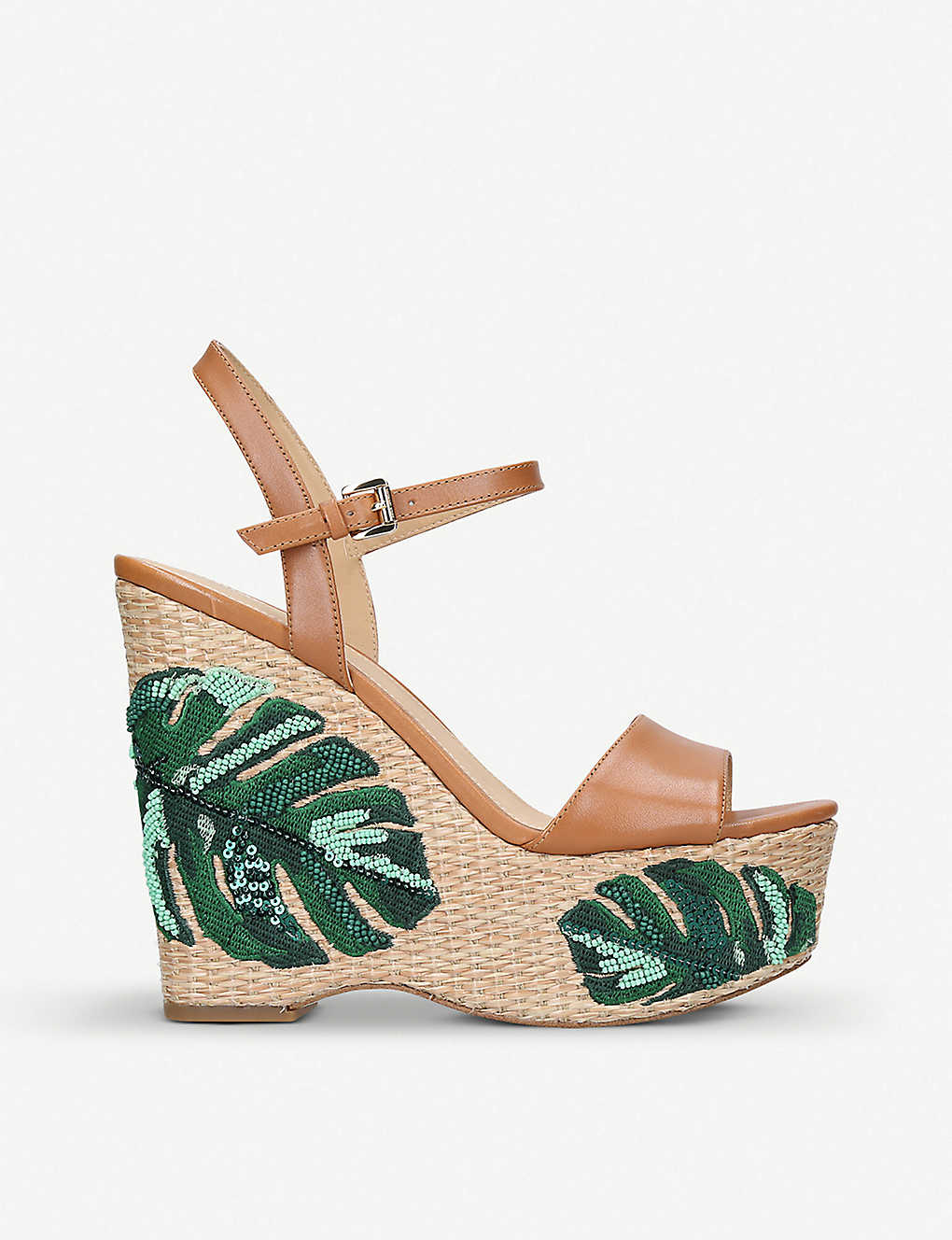 fa6cc20e2 MICHAEL MICHAEL KORS Fisher leather and palm tree-embroidered wedge sandals