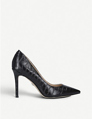SAM EDELMAN: Hazel 90 croc-embossed leather courts