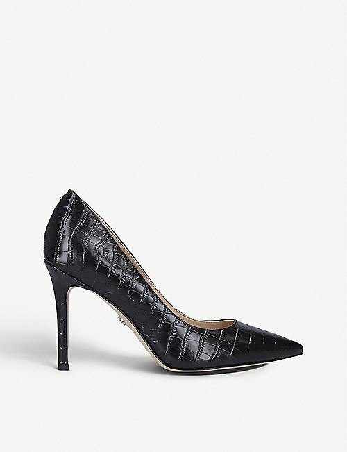 SAM EDELMAN Hazel 90 croc-embossed leather courts