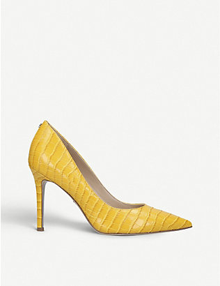 SAM EDELMAN: Hazel croc-embossed leather courts