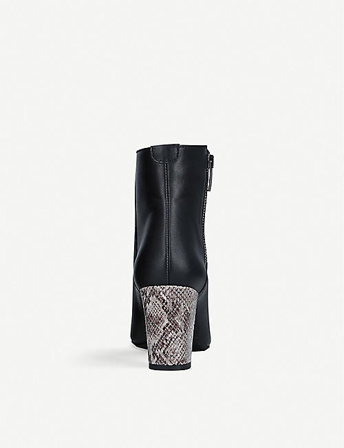 CARVELA COMFORT Rails snakeskin-embossed heel leather ankle boots