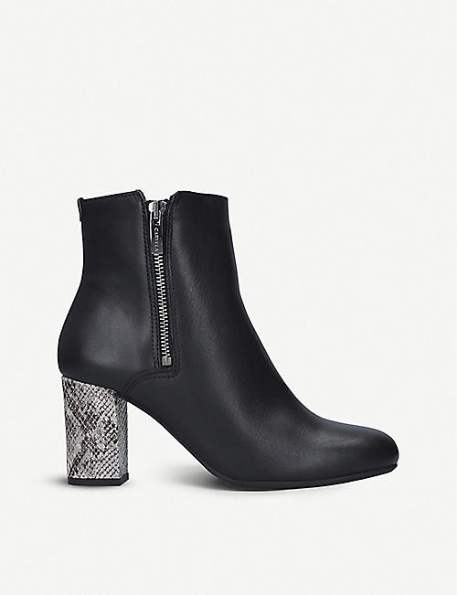 CARVELA COMFORT: Rails snakeskin-embossed heel leather ankle boots