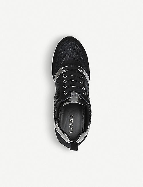 CARVELA Justified suede and glitter trainers