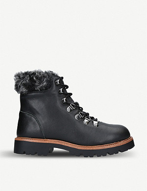 KG KURT GEIGER Tyrone faux-fur trimmed leather hiking boots