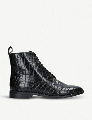 KG KURT GEIGER Tilda mock croc leather ankle boots