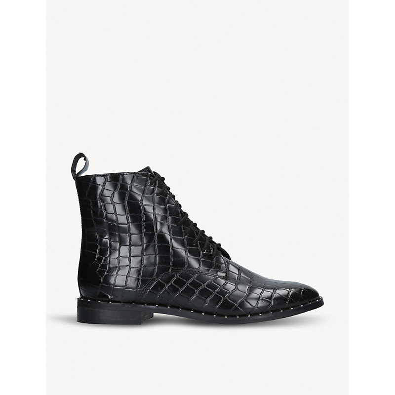 KG KURT GEIGER | Tilda Mock Croc Leather Ankle Boots | Goxip