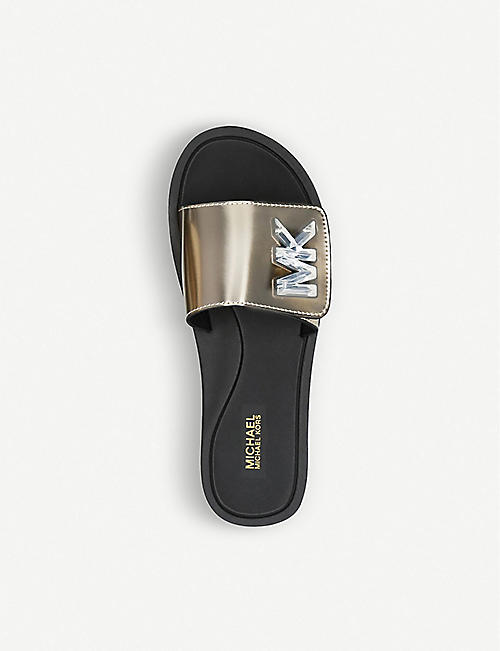 ee2b5d3da8689 MICHAEL MICHAEL KORS Logo-embellished metallic sliders