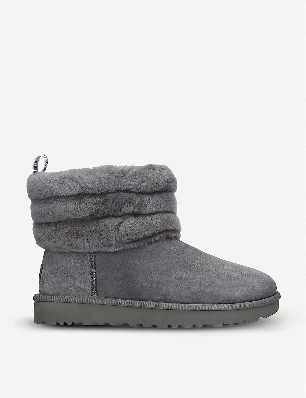 4b39385298f UGG - Fluff Mini Quilted suede and sheepskin boots | Selfridges.com