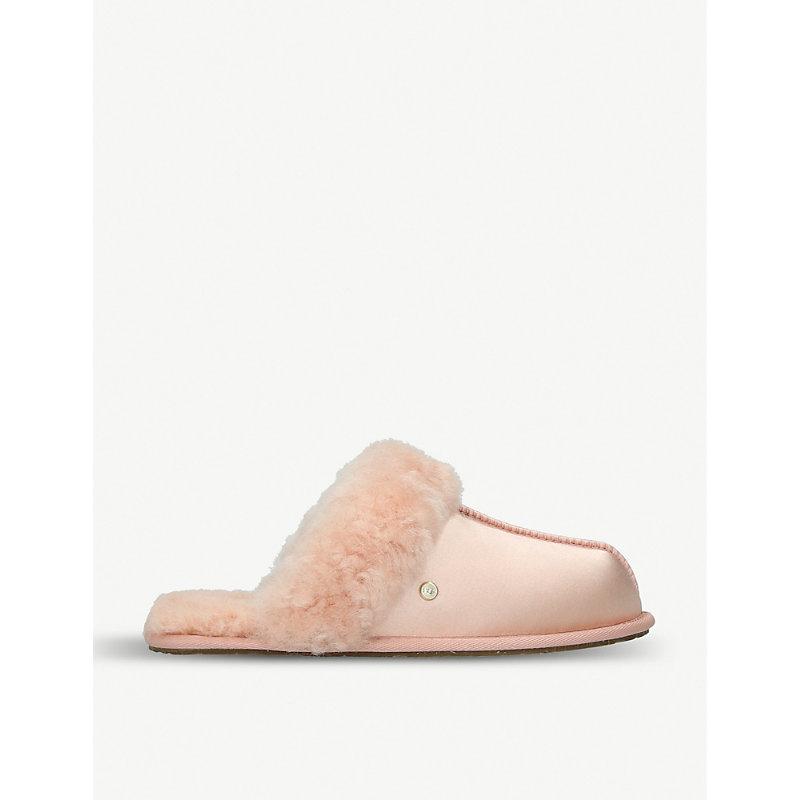 Scuffette Shearling-Lined Satin Slippers, Suntan