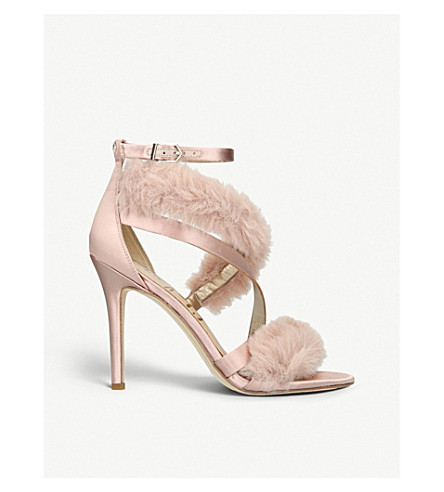 f273a5b4b672 SAM EDELMAN Adelle satin and faux-fur heeled sandals (Pink