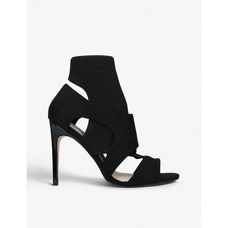 KG KURT GEIGER | KG Kurt Geiger Black Ace Suede Sock-Fit Heeled Sandals, Size: EUR 36 / 3 UK WOMEN | Goxip
