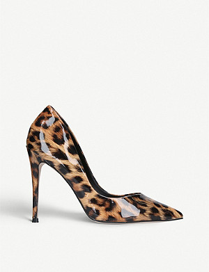 KG KURT GEIGER Alyx leopard print faux patent-leather courts