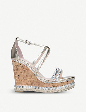 CARVELA Grab embellished metallic faux-leather wedges