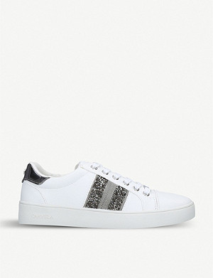 CARVELA Luminous embellished faux-leather trainers
