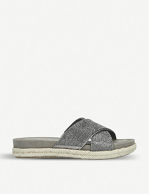 2f8e5b592e9 CARVELA COMFORT Sian metallic crystal-embellished espadrille sandals