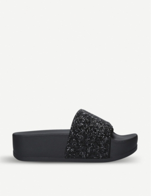 DKNY Hampton glitter-embellished suede sliders