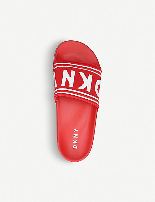 DKNY Zora intarsia knit and rubber sliders
