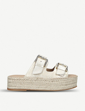 CARVELA Kleverer metallic-leather flatform sandals