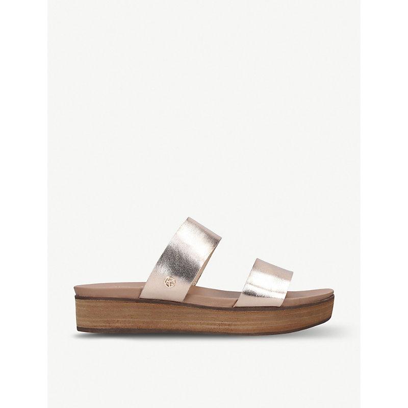 KG KURT GEIGER | Robby Metallic Faux-Leather Sandals | Goxip