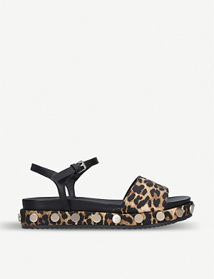KG KURT GEIGER Ripple leopard-print satin and faux-leather sandals