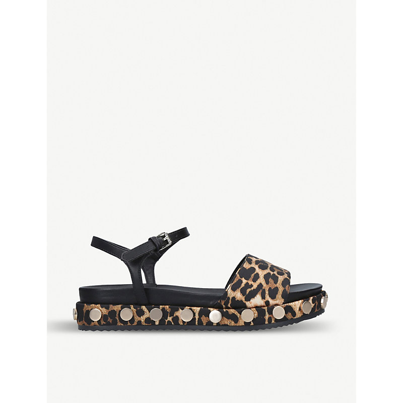 KG KURT GEIGER | Ripple Leopard-Print Satin And Faux-Leather Sandals | Goxip