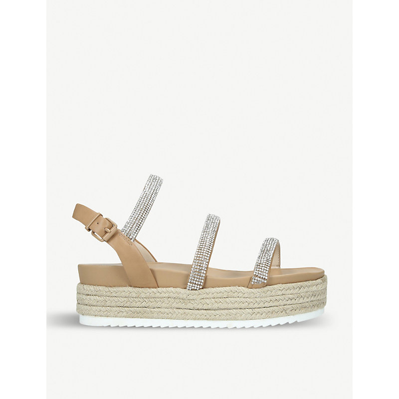 KG KURT GEIGER | Rapid Strass-Embellished Faux-Leather Sandals | Goxip