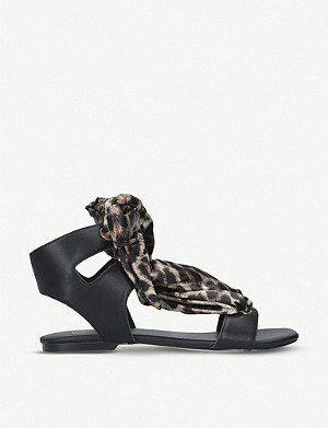 KG KURT GEIGER Rose leoaprd-print satin and faux-leather sandals
