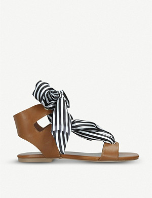 KG KURT GEIGER Rose striped ribbon detail faux-leather sandals