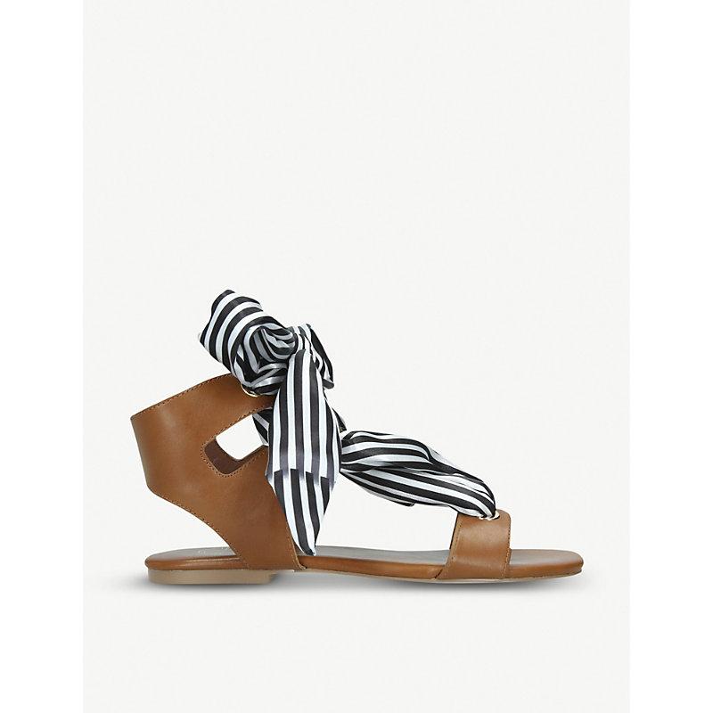 KG KURT GEIGER | Rose Striped Ribbon Detail Faux-Leather Sandals | Goxip