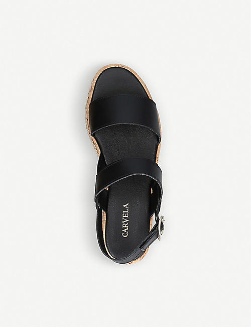 CARVELA Krash embellished leather wedge sandals