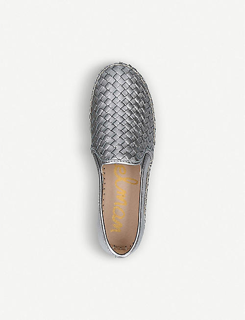 SAM EDELMAN Carrin woven-detail metallic-leather espadrilles
