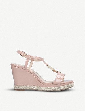 NINE WEST Glaze faux-leather wedge sandals