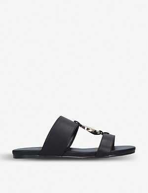 NINE WEST Gloss faux-leather gladiator sliders