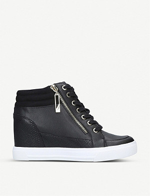 ALDO Aeladda faux-leather wedge trainers