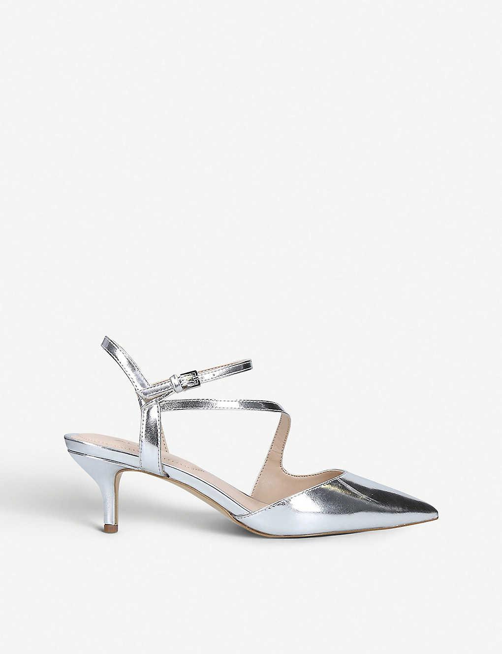 2ddb9c7e96d Caderivia metallic faux-leather kitten heel courts - Silver ...