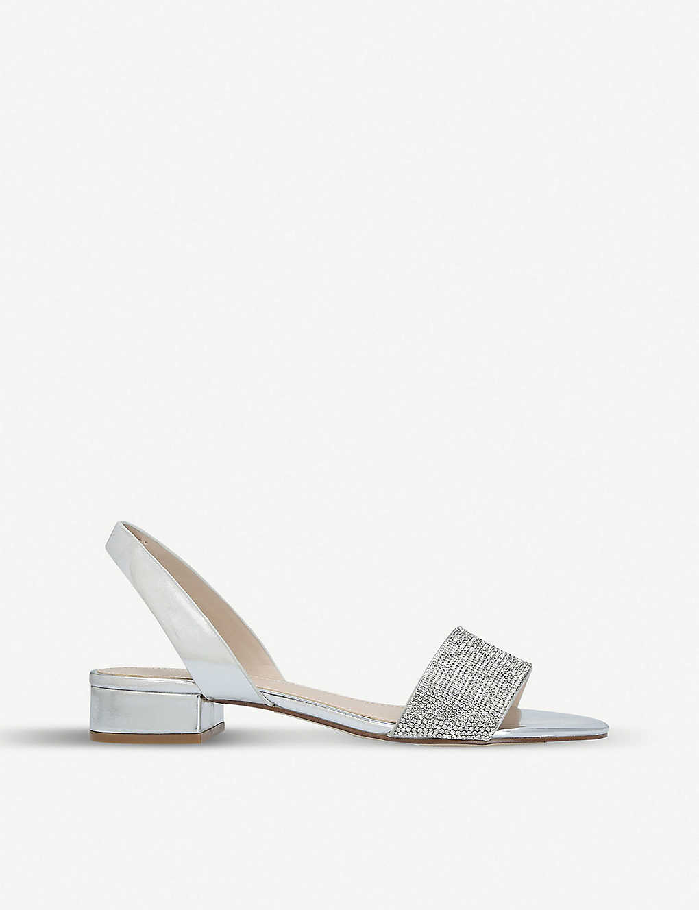 28d75c88cf5 Candice metallic faux-leather embellished sandals - Silver ...