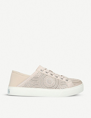ALDO Stephanie stamped print faux leather lace-up trainers