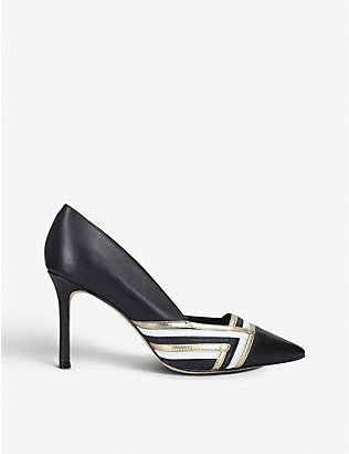 NINE WEST: Eugene chevron-print leather courts