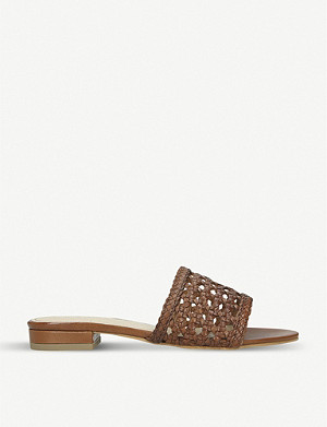 NINE WEST Flick woven leather sliders