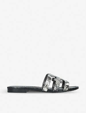 SAM EDELMAN Bay snake-embossed leather sandals