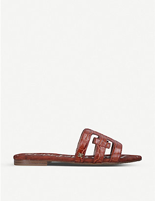 SAM EDELMAN: Bay crocodile-embossed leather sandals