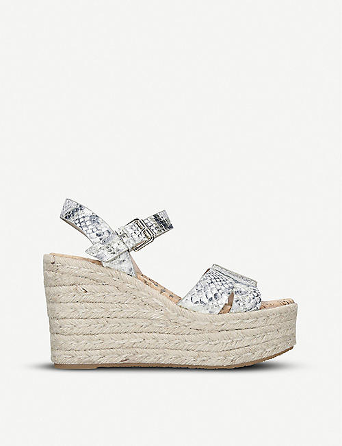 3fa5eaf77 SAM EDELMAN Maura snake-embossed leather wedge sandals