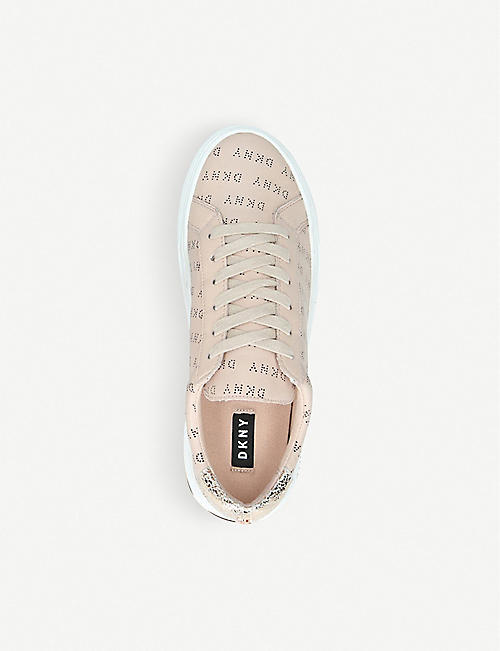 DKNY Court logo-covered metallic-trim leather trainers